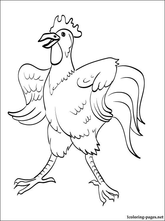 rooster coloring page for kids coloring pages - Rooster Coloring Page
