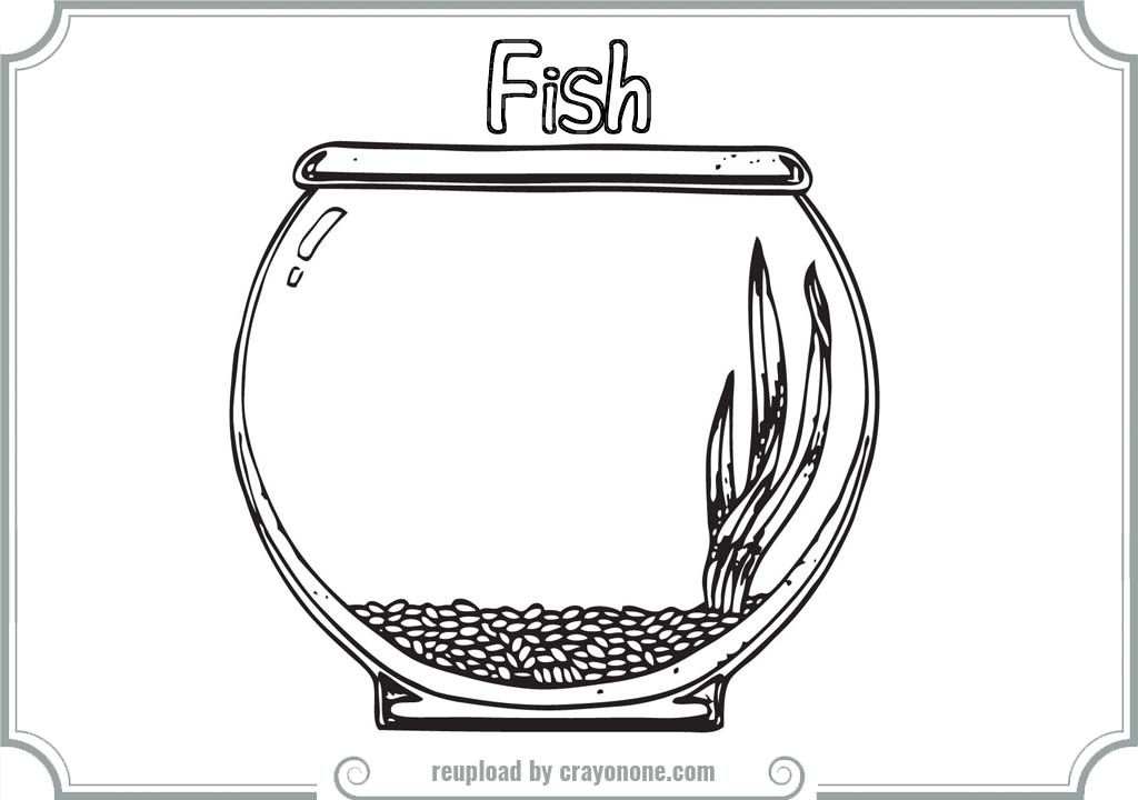 Fish Bowl Coloring Page Printable