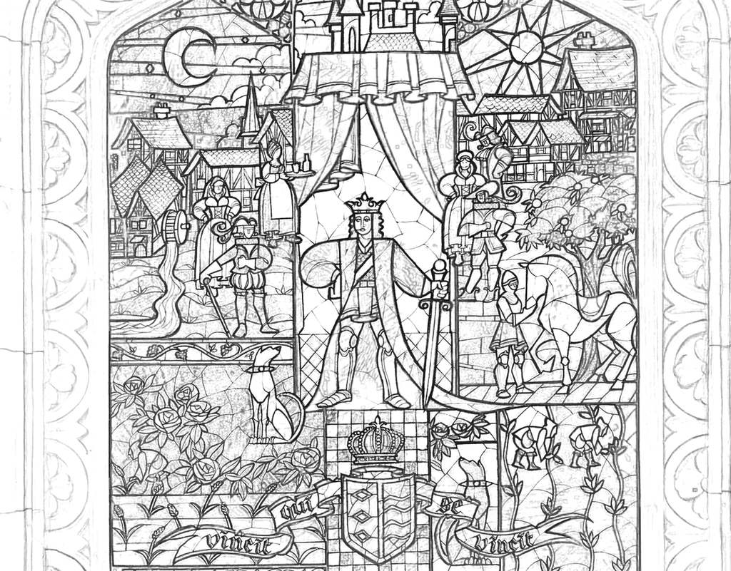 Beauty And The Beast Stained Glass Coloring Page ...