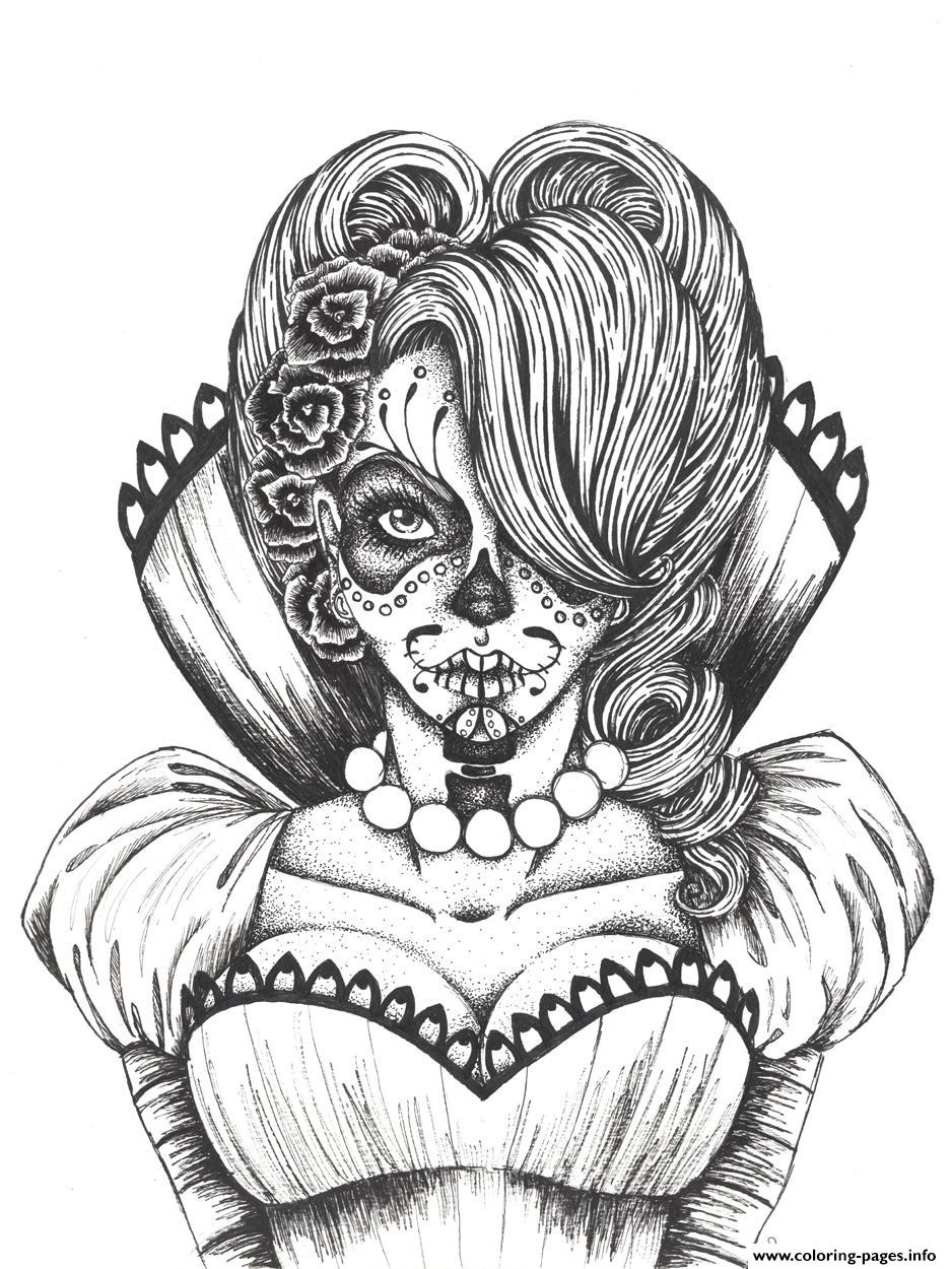 Sugar Skull Girl Coloring Pages - Coloring Home