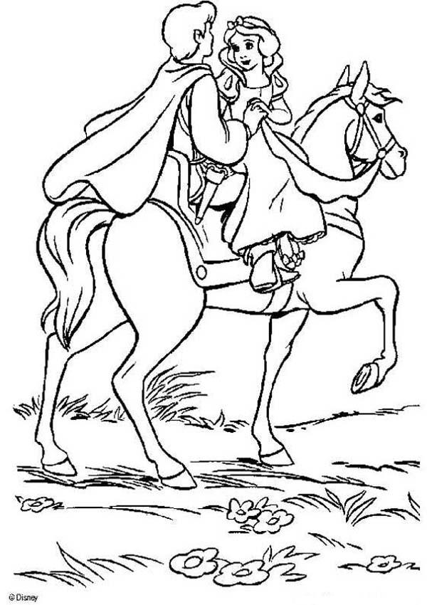 Snow White and the seven dwarfs coloring pages - Prince and Snow White