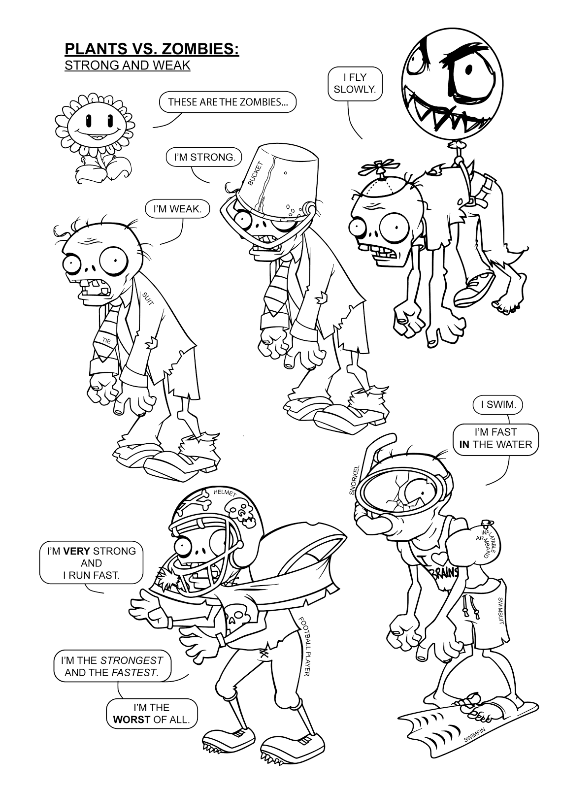 Plants v zombies coloring pages - Plant Vs Zombie Coloring Sheet For Pinterest