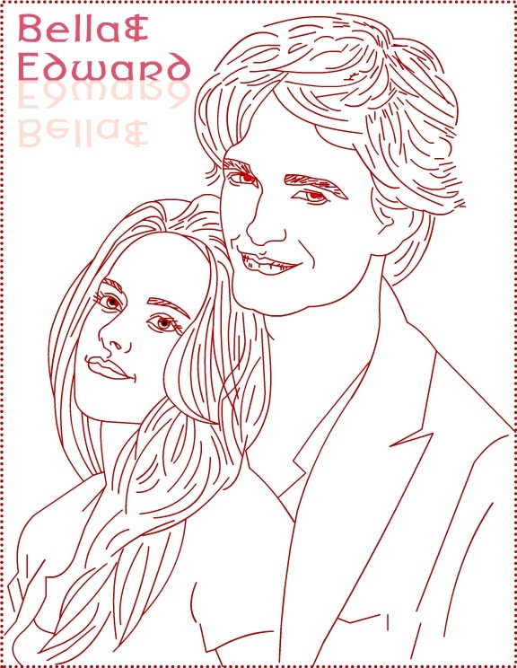 Twilight Edward Bella Coloring Page - Coloring Home