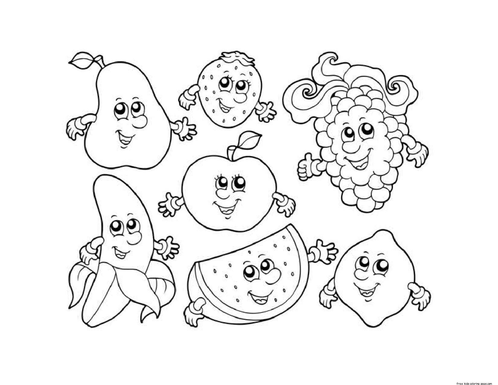 Free printable coloring pages fruits and vegetables - 10 Pics Of Grapes Fruit Coloring Pages Grapes Clip Art Coloring Popular Free Printable