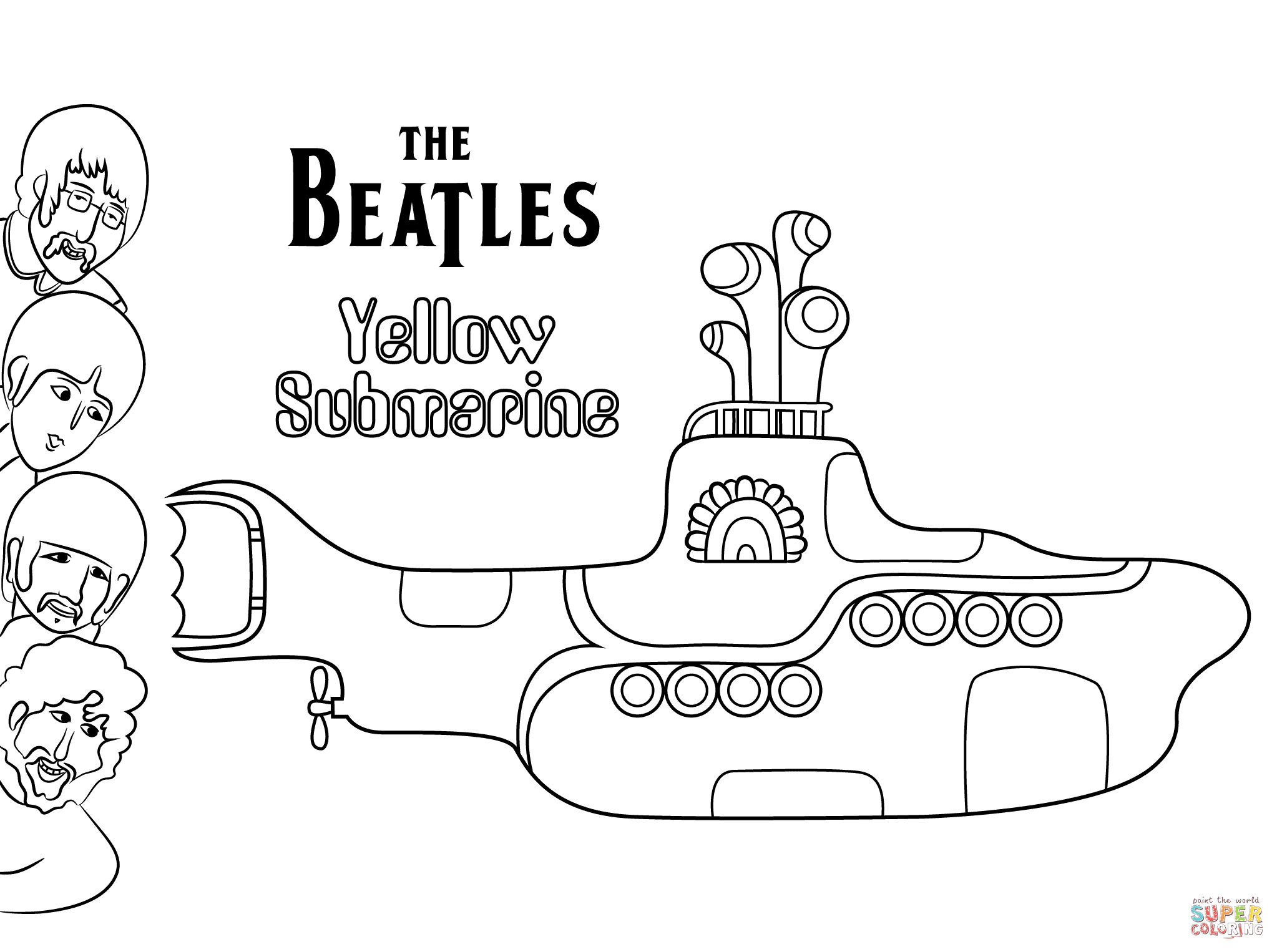 the beatles yellow submarine cover art coloring page free - Submarine Coloring Pages Print