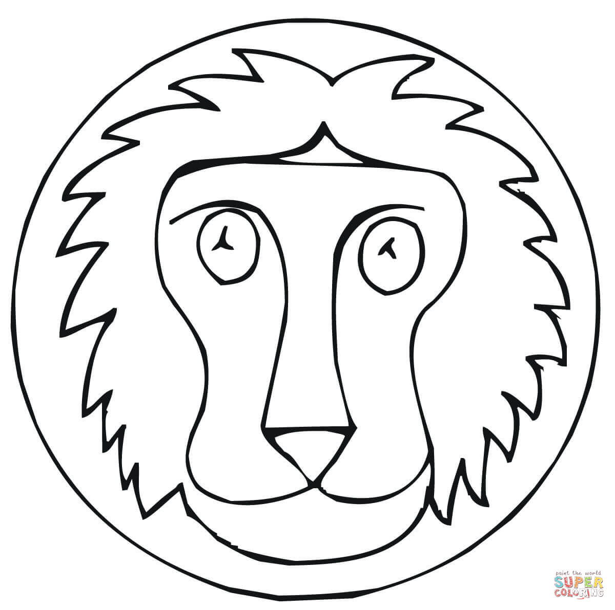 A LION WITH LITTLE LIONS COLORING PAGES