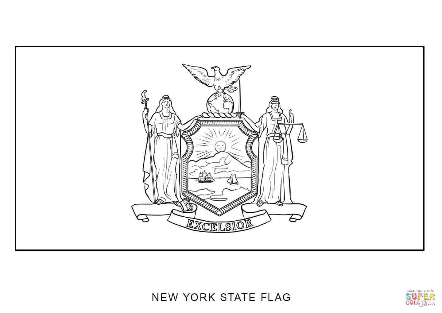 Coloring Books For Adults New Yorker : New York State Flag Coloring Page AZ Coloring Pages