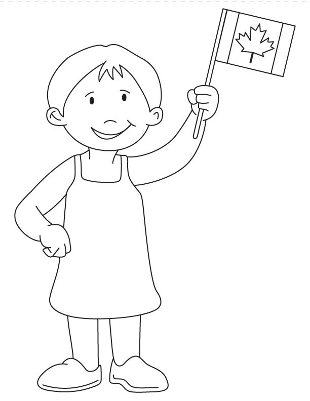 - Girl Waving Canada Flag Coloring Page - Coloring Home