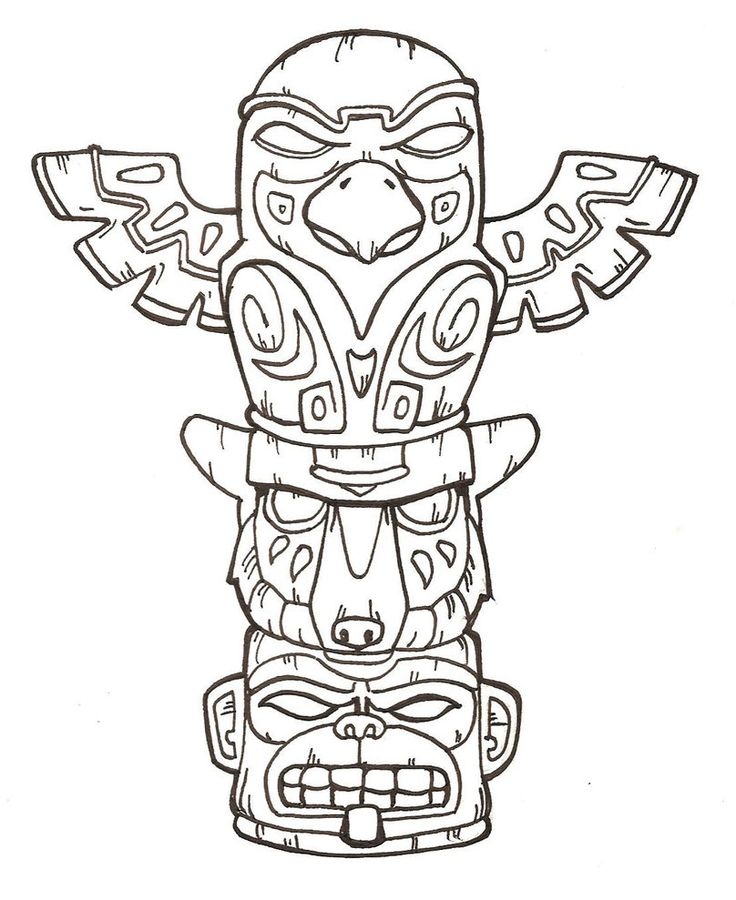 totem pole animal coloring pages - photo#1