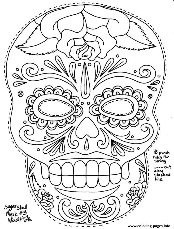 Sugar skull adult coloring pages coloring home for Free sugar skull coloring pages
