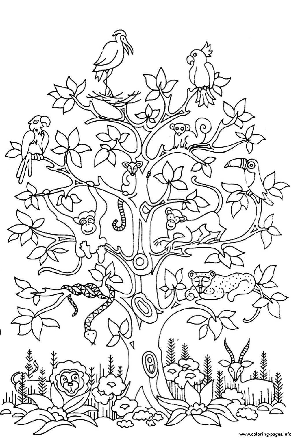 Print adult difficult tree bird butterflies snake monkey Coloring ...