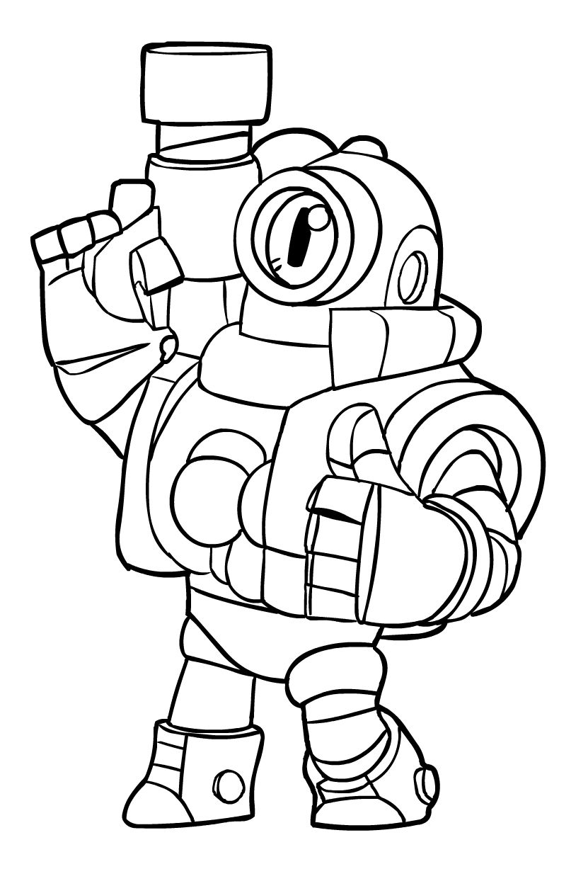 Rico from Brawl Stars coloring page