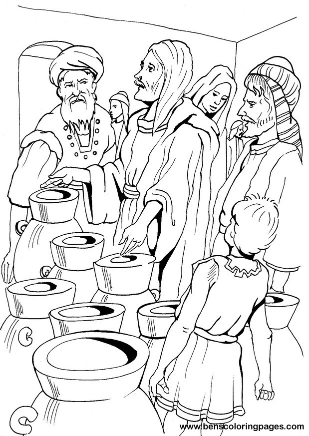 Jesus Turns Water Into Wine Coloring Pages - Coloring Home
