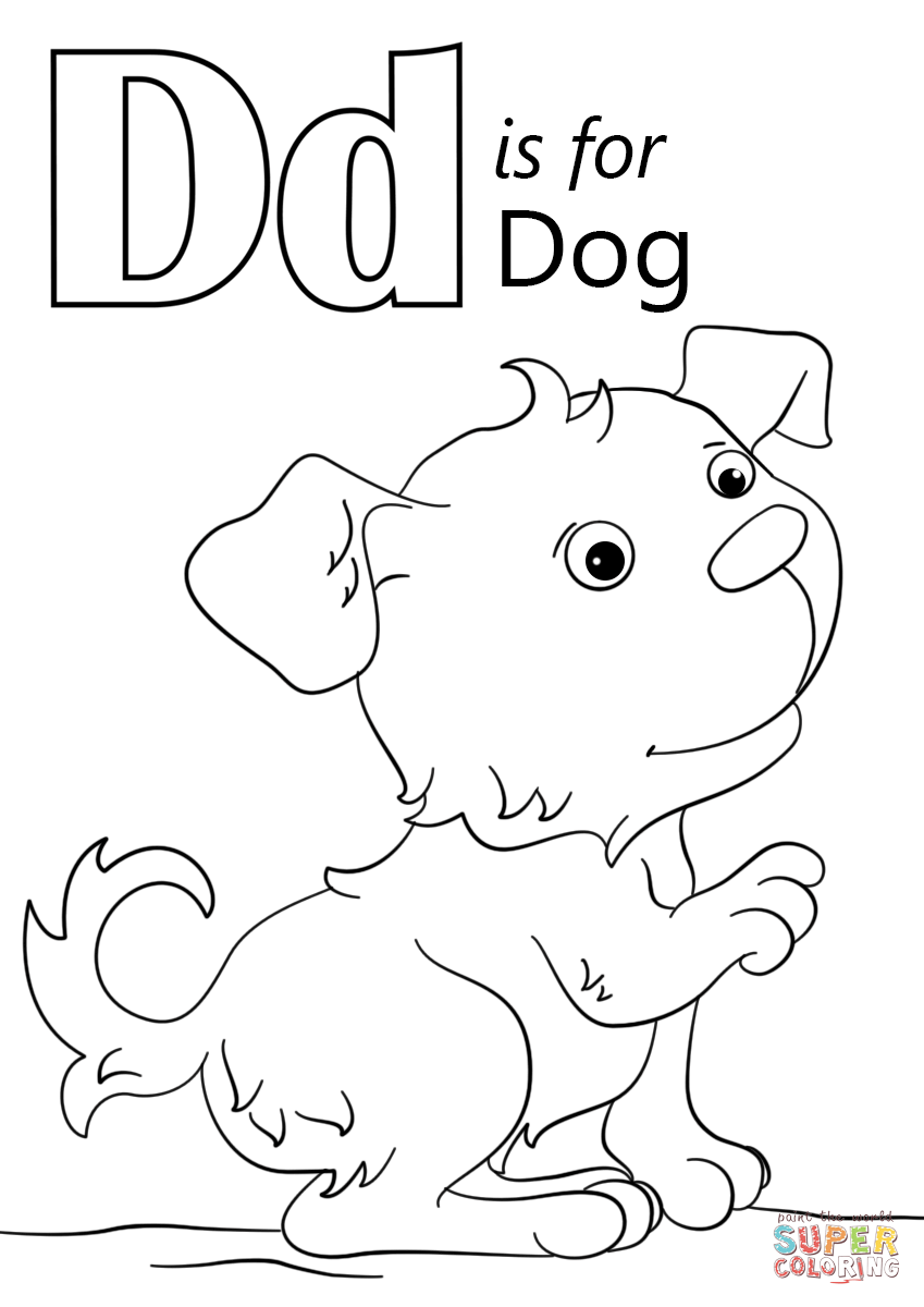 Letter D is for Dog coloring page | Free Printable Coloring Pages