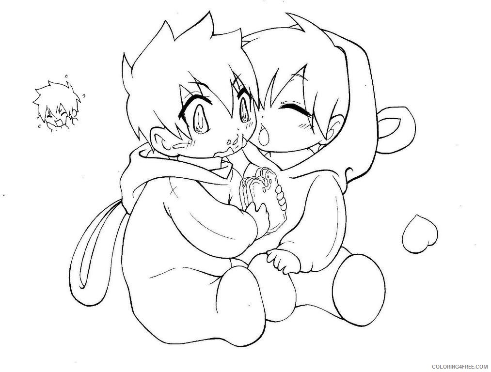 cute anime couple coloring pages chibi Coloring4free ...