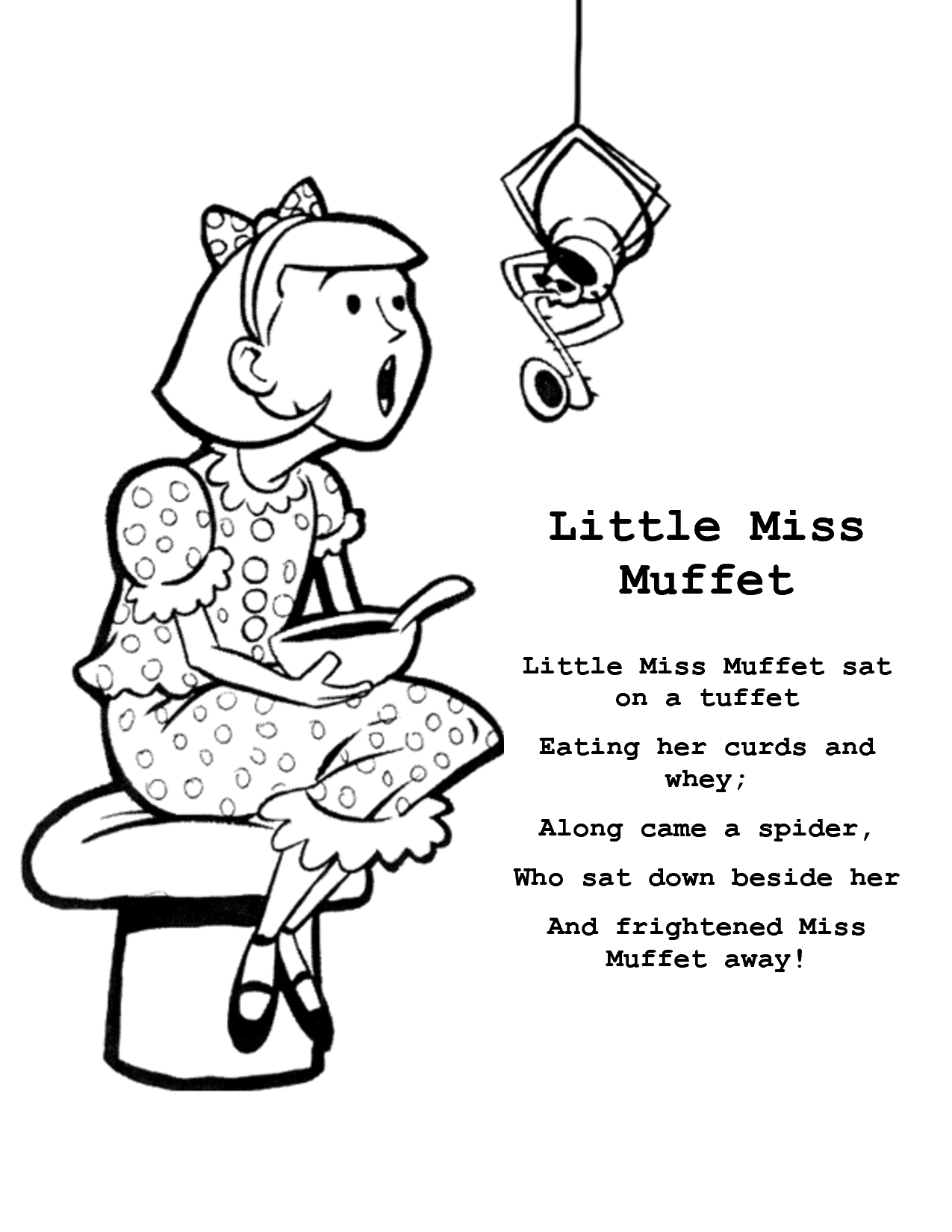 little miss muffet coloring page coloring home