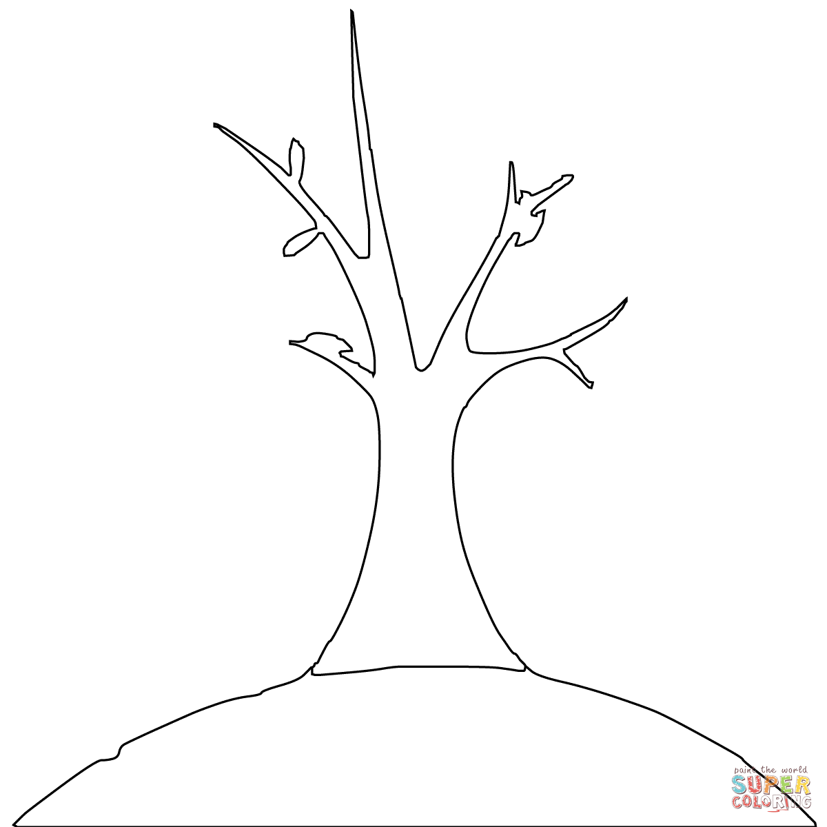 Simple Bare Tree Silhouette Sketch