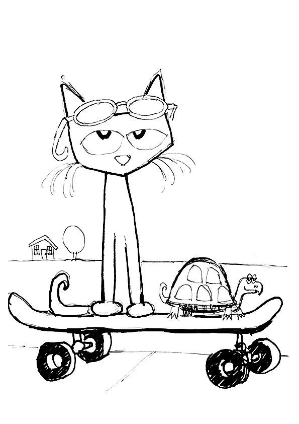 pete the cat coloring page coloring home