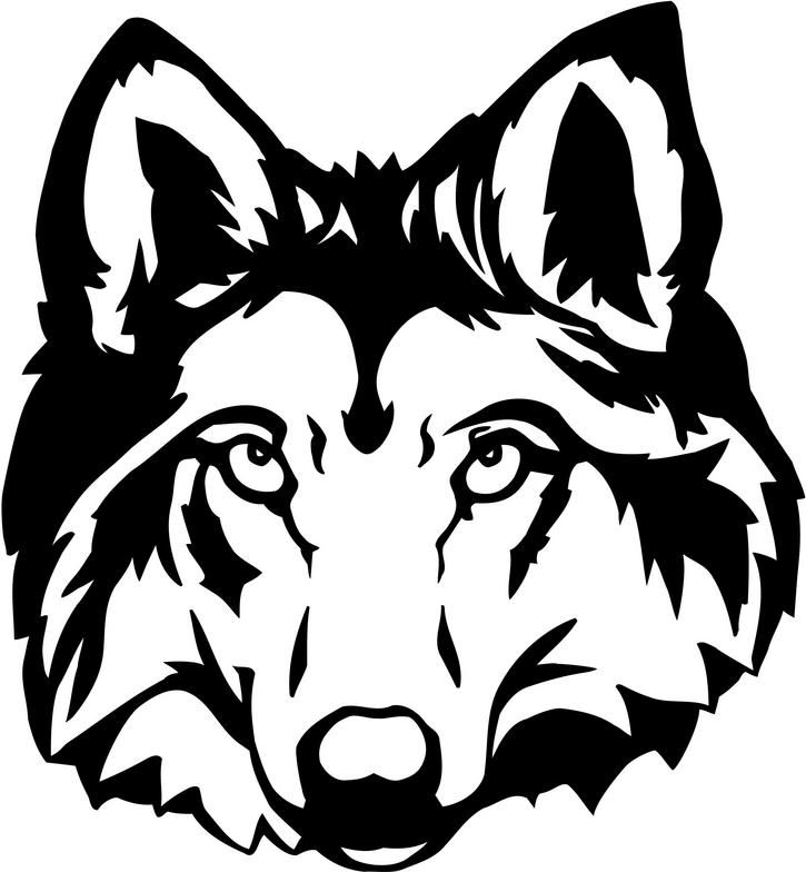 Wolf face coloring - photo#17