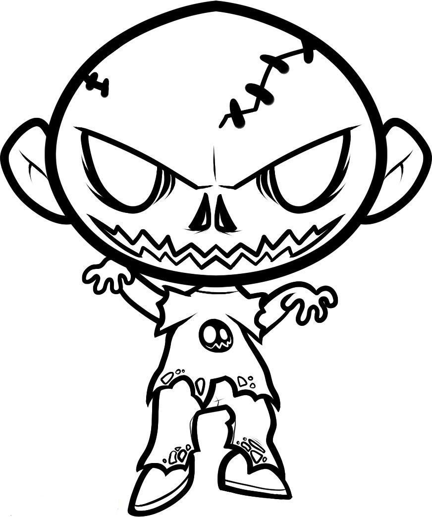 Print Halloween Coloring Pages Zombie Or Download Halloween