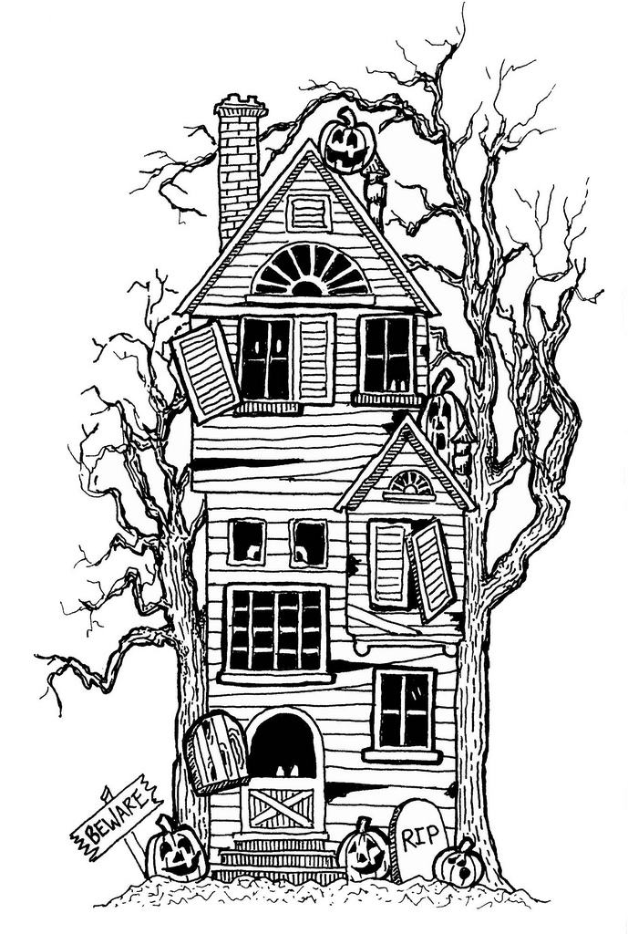 coloring pages haunted house - photo#25