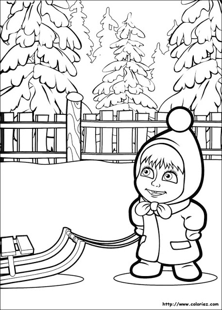 Masha And The Bear Coloring Page Coloring Draw - Coloring Home