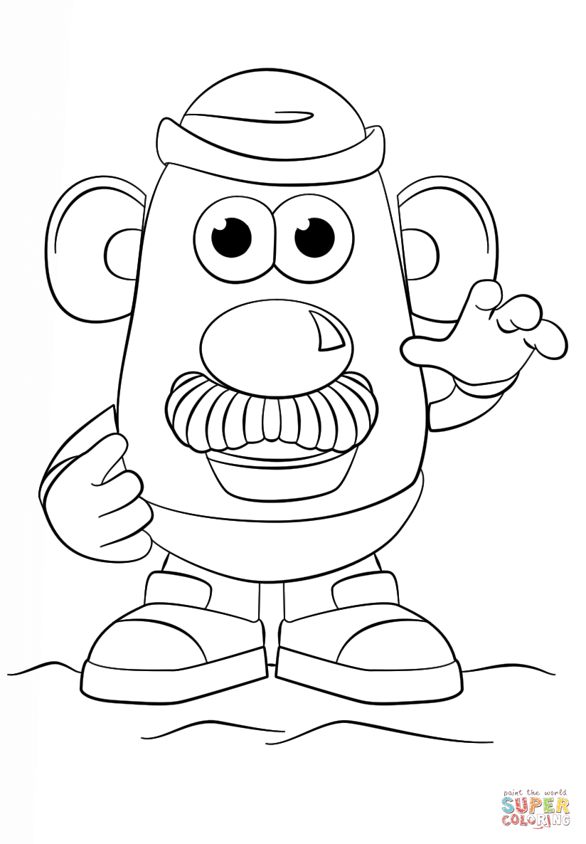 mrs potato head easy coloring page coloring home