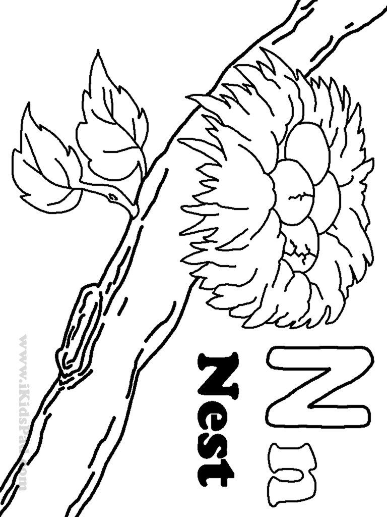 Letter N Coloring Pages  Twisty Noodle