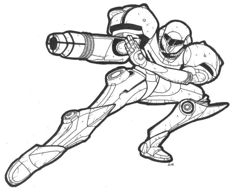 Metroid Coloring Page Coloring