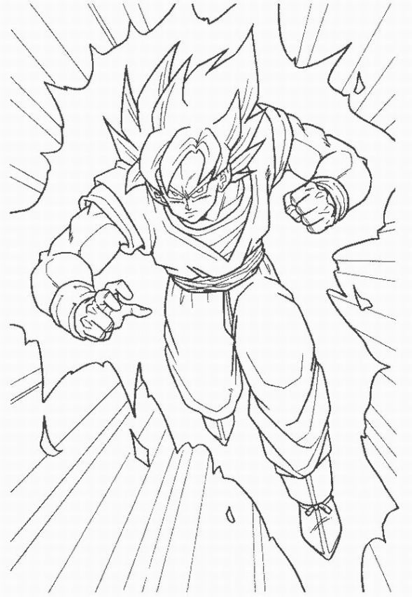 Dragon Ball Z Goku Super Saiyan Coloring Pages Coloring