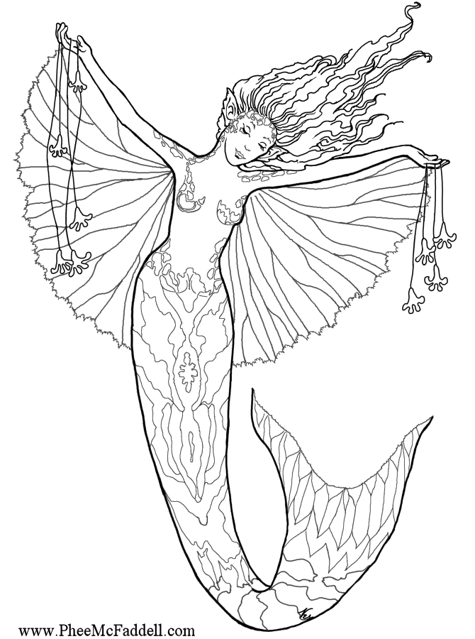 Advanced Coloring Pages Mermaids - Coloring Pages For All Ages