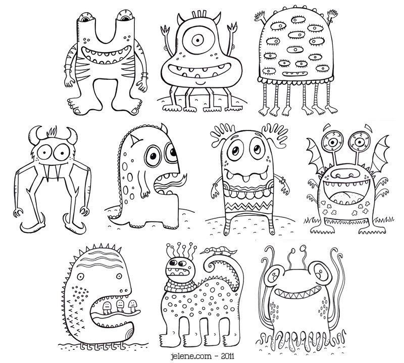 Cute Monster Coloring Page Coloring