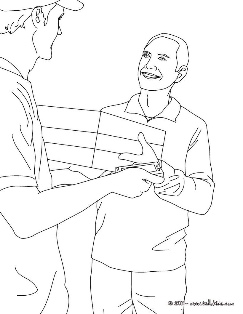 POSTMAN coloring pages - Postman sorts mails in the post office