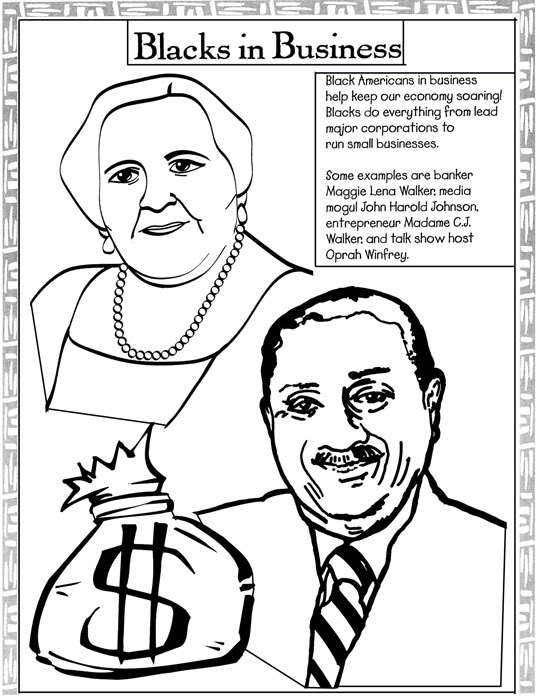 black history coloring pages madame cj walker john harold johnson - Black History Coloring Pages