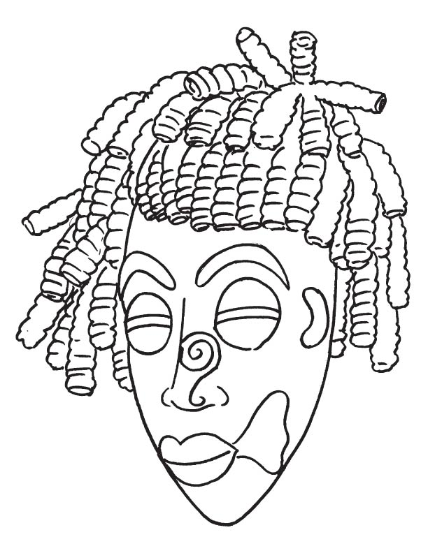 African mask coloring page coloring home for African american bible coloring pages