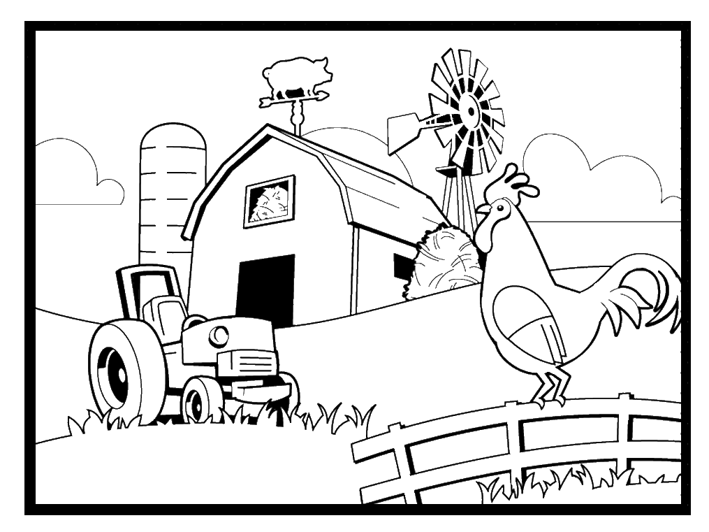 coloring pages farming scenes coloring home. Black Bedroom Furniture Sets. Home Design Ideas