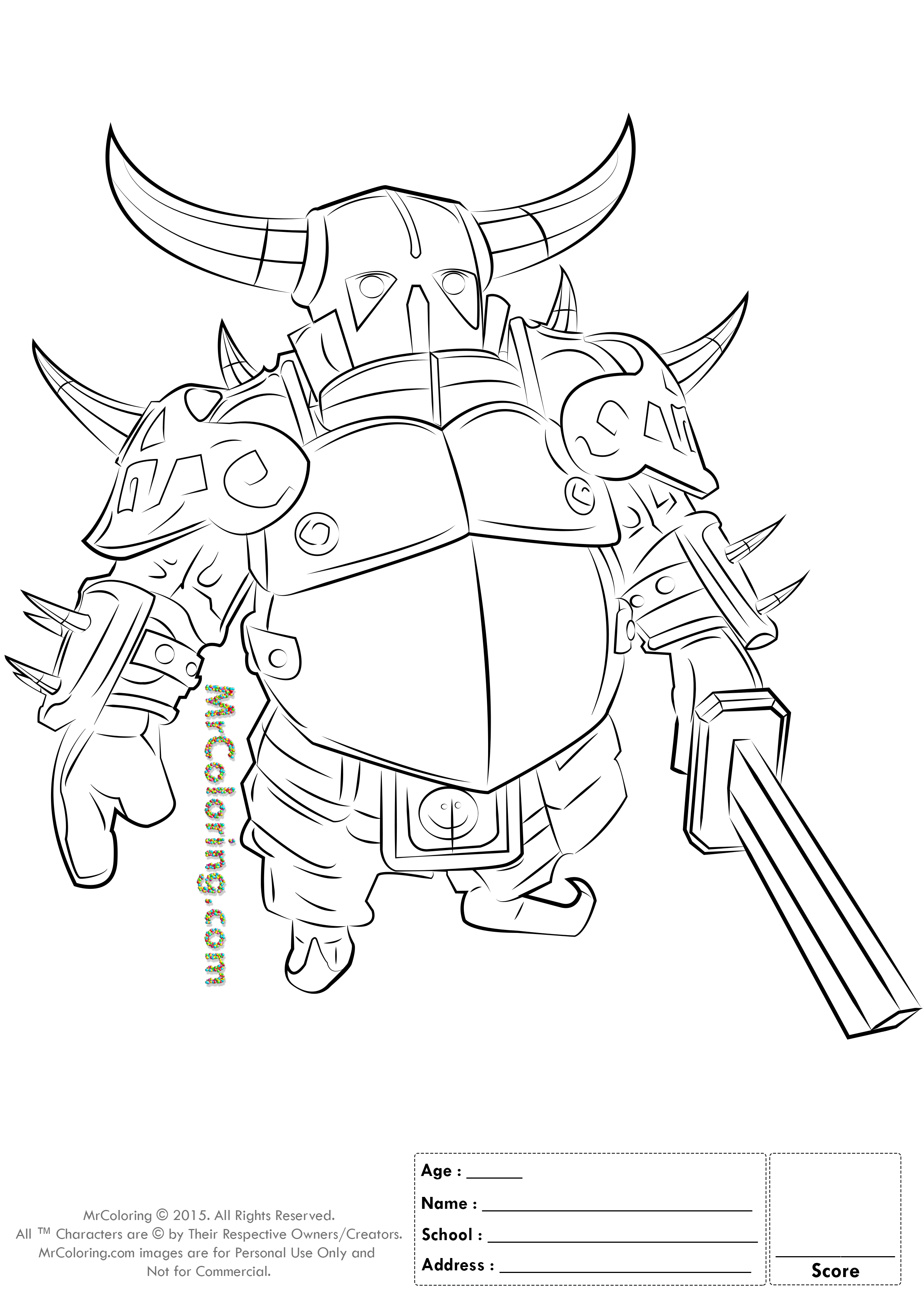 Clash Of Clans Pekka Coloring Pages - 1  MrColoring.com ...