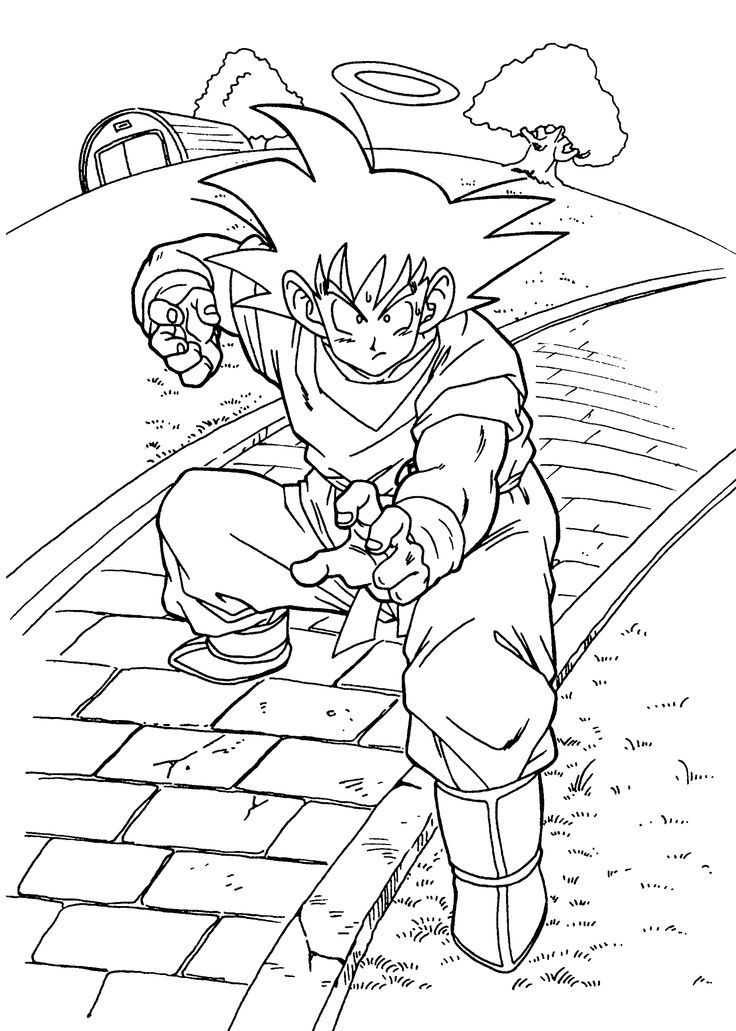 Dragon Ball Z Simple Coloring Page