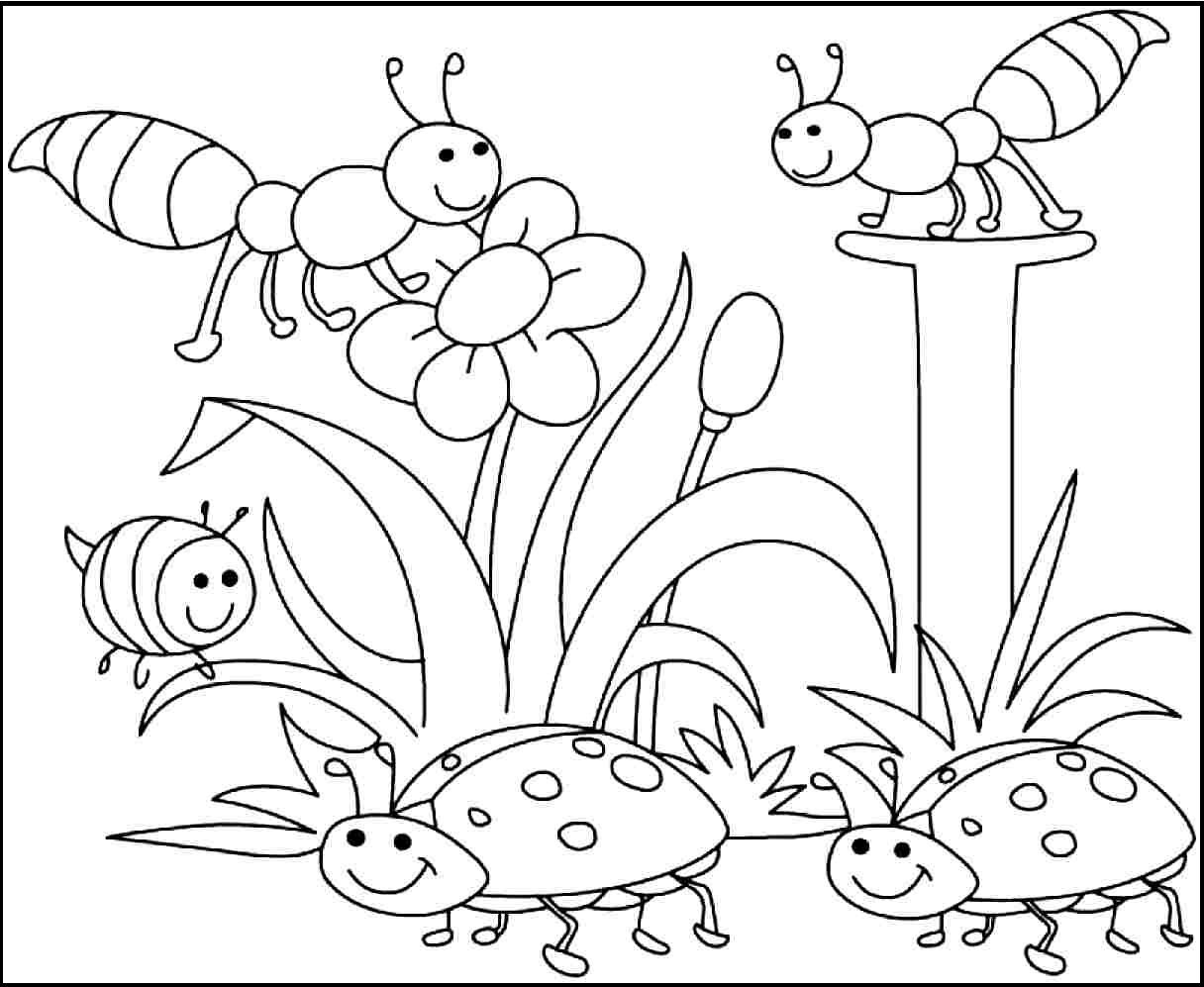 Insects Pleased With Spring Day Coloring Pages For Kids #d7S ...