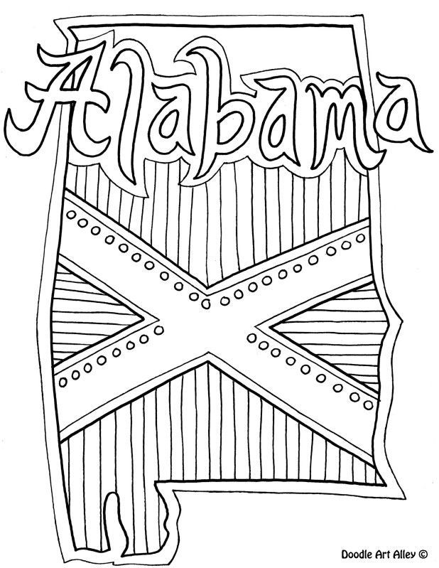 Alabama Coloring Page by Doodle Art Alley | USA Coloring Pages ...