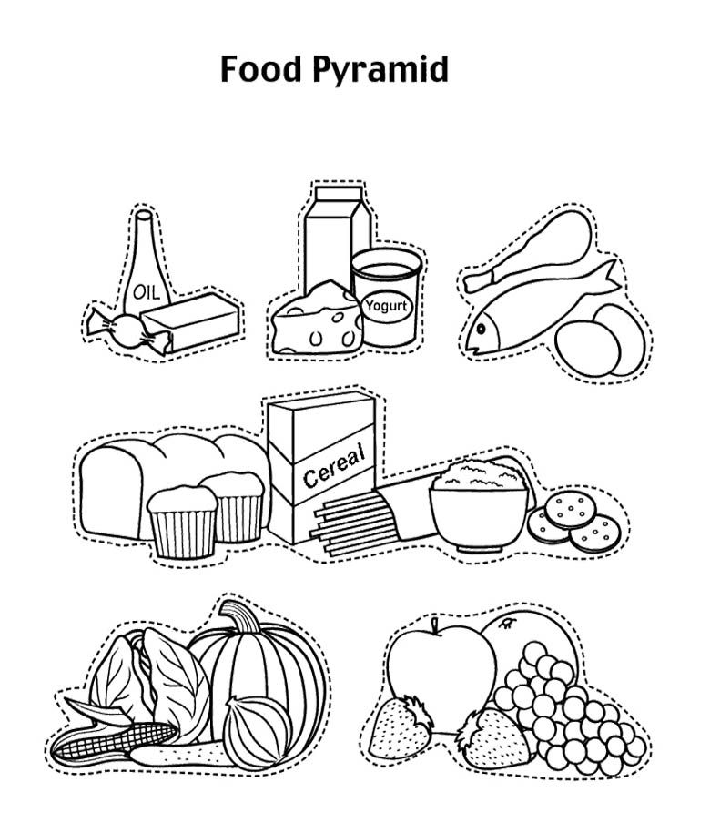 food pyramid coloring page for preschoolers
