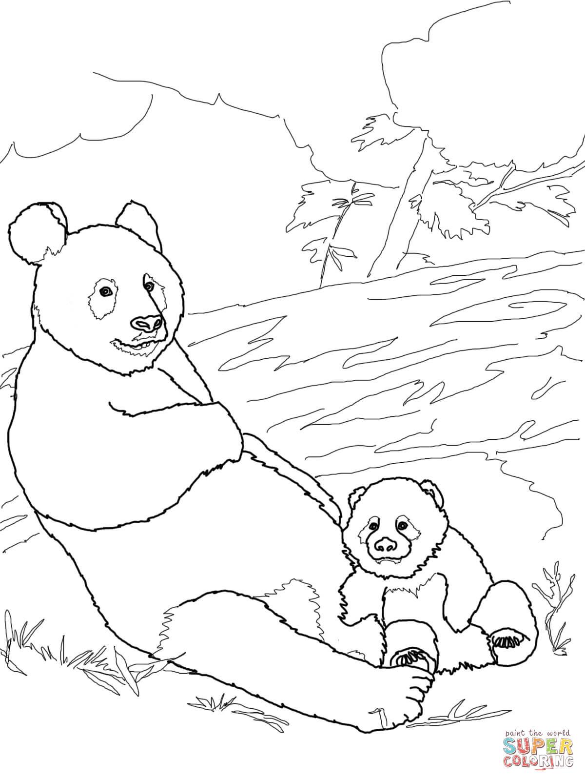 panda mother with baby panda coloring page free printable