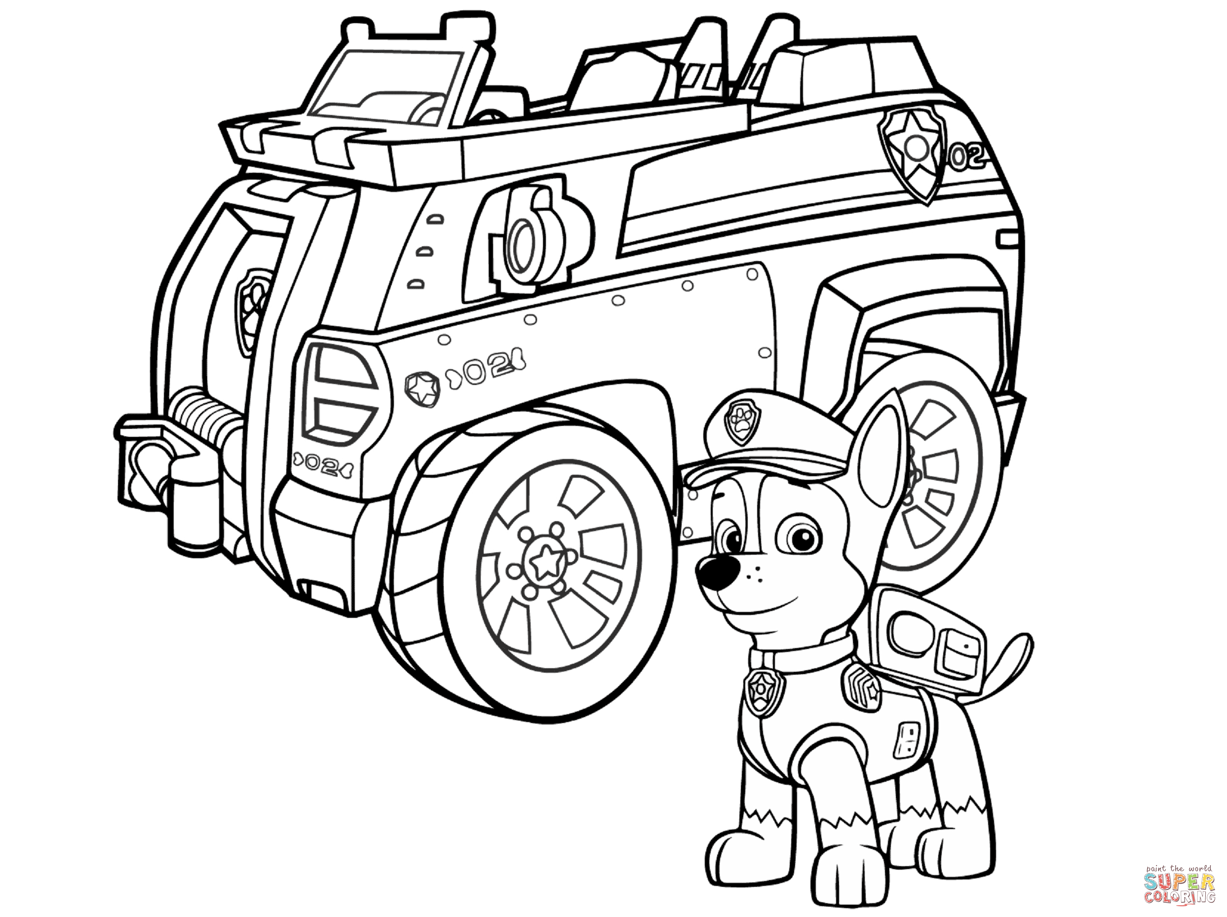 Paw Patrol Chase Coloring Pages - Coloring Home