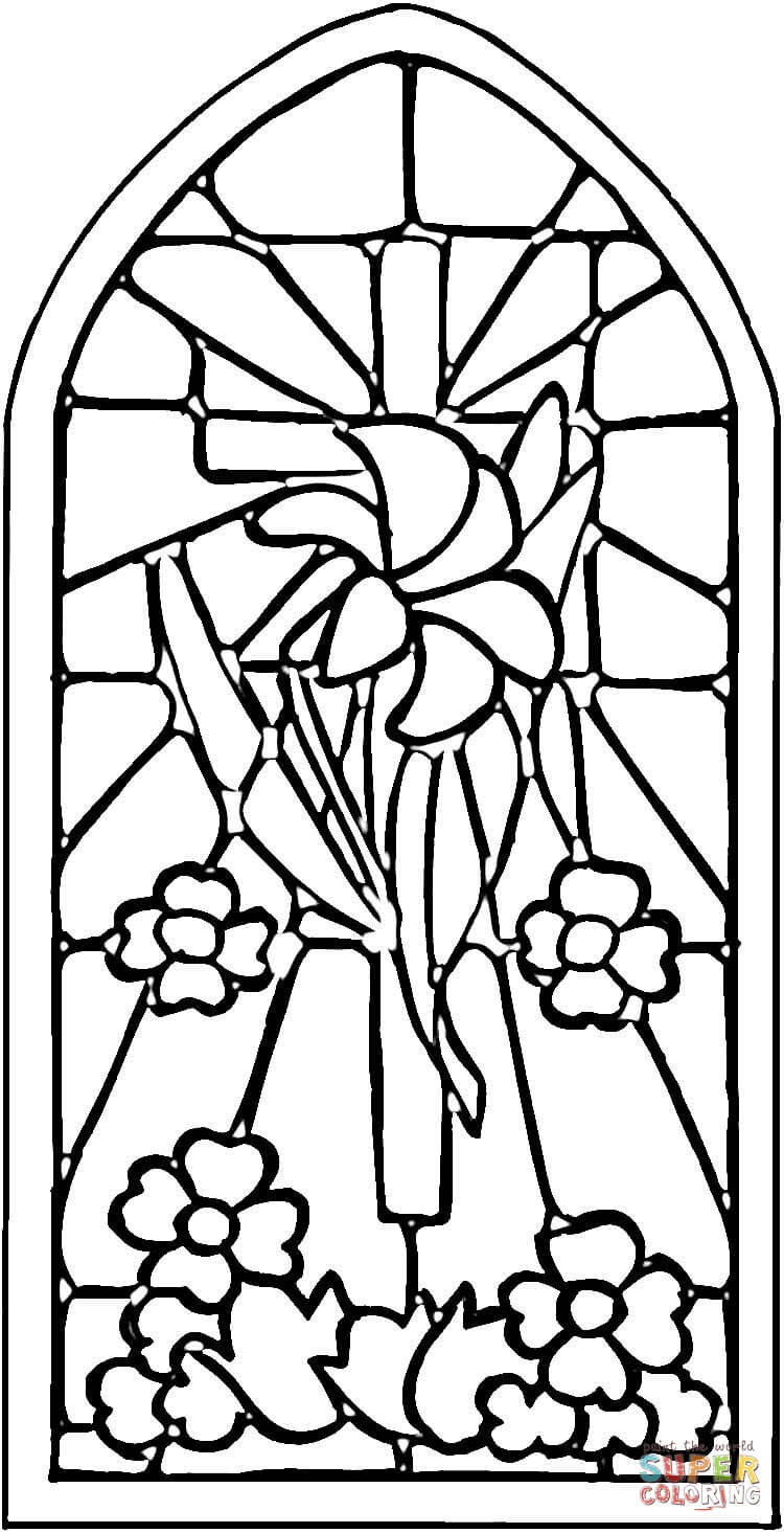 Printable Stained Glass Window Coloring Page Coloring Home