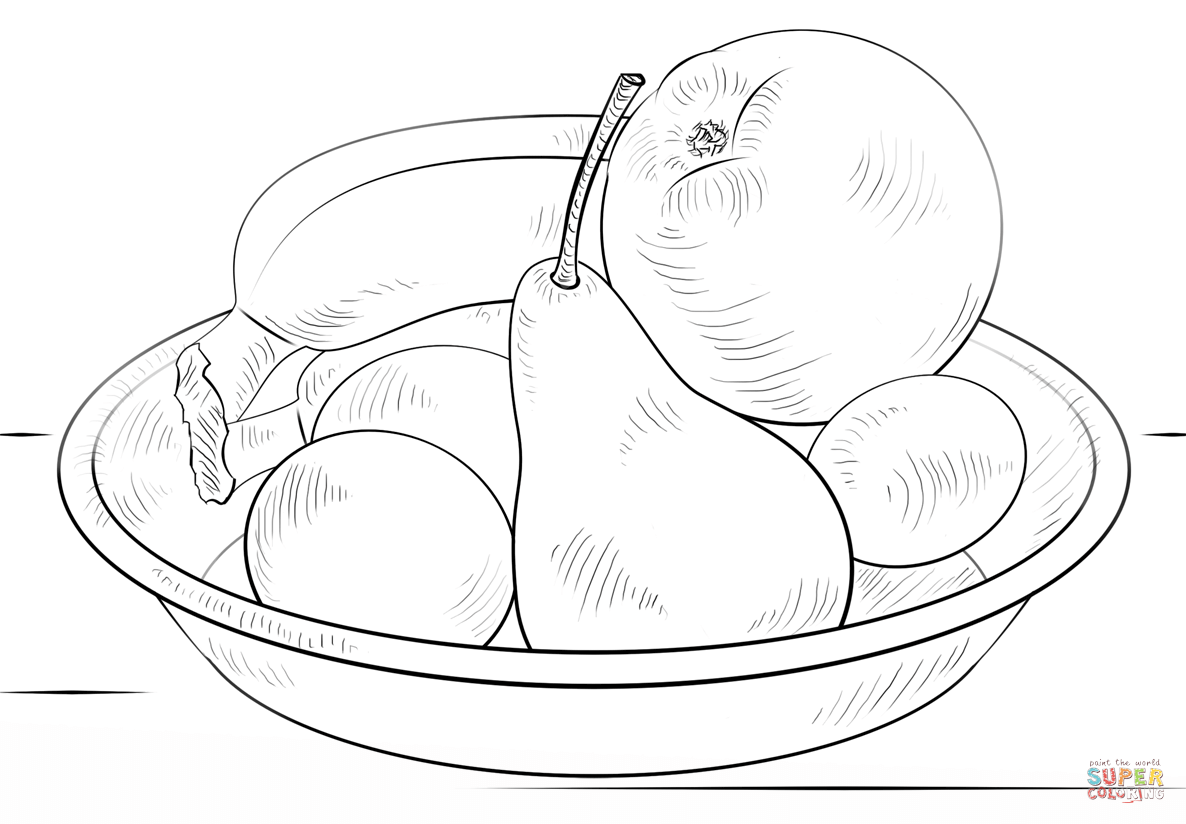 Coloring Pages Of A Bowl Of Fruit