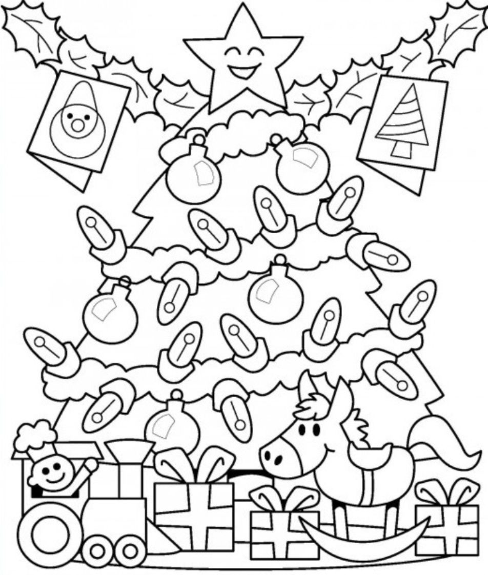 Christmas Tree With Presents Coloring Page - Coloring Home