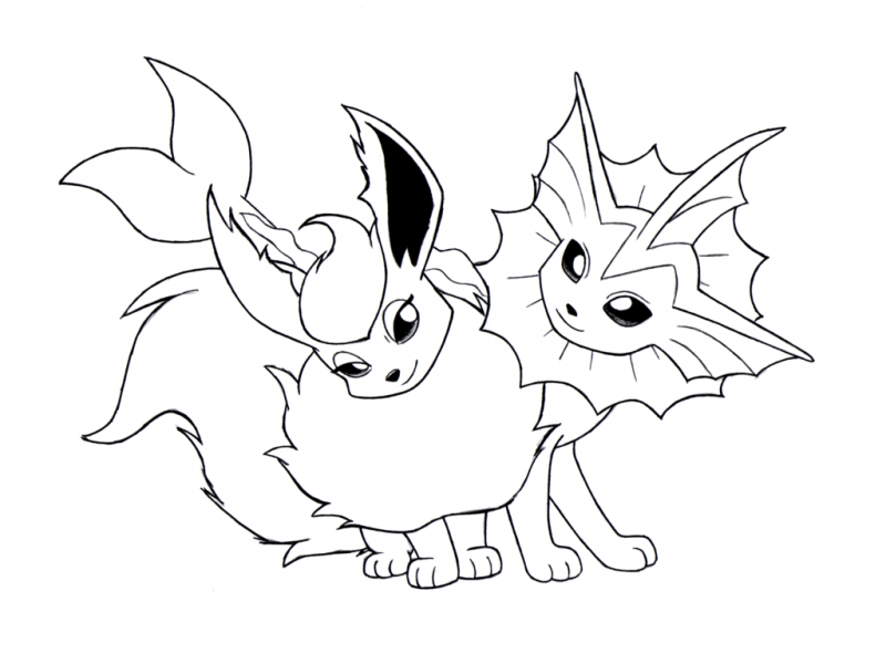 Eevee Evolutions Coloring Pages For Kids And For Adults