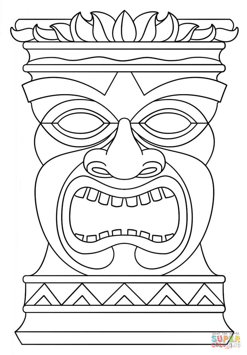 photograph relating to Tiki Mask Printable titled Printable Tiki Mask Coloring Internet pages - Coloring Residence