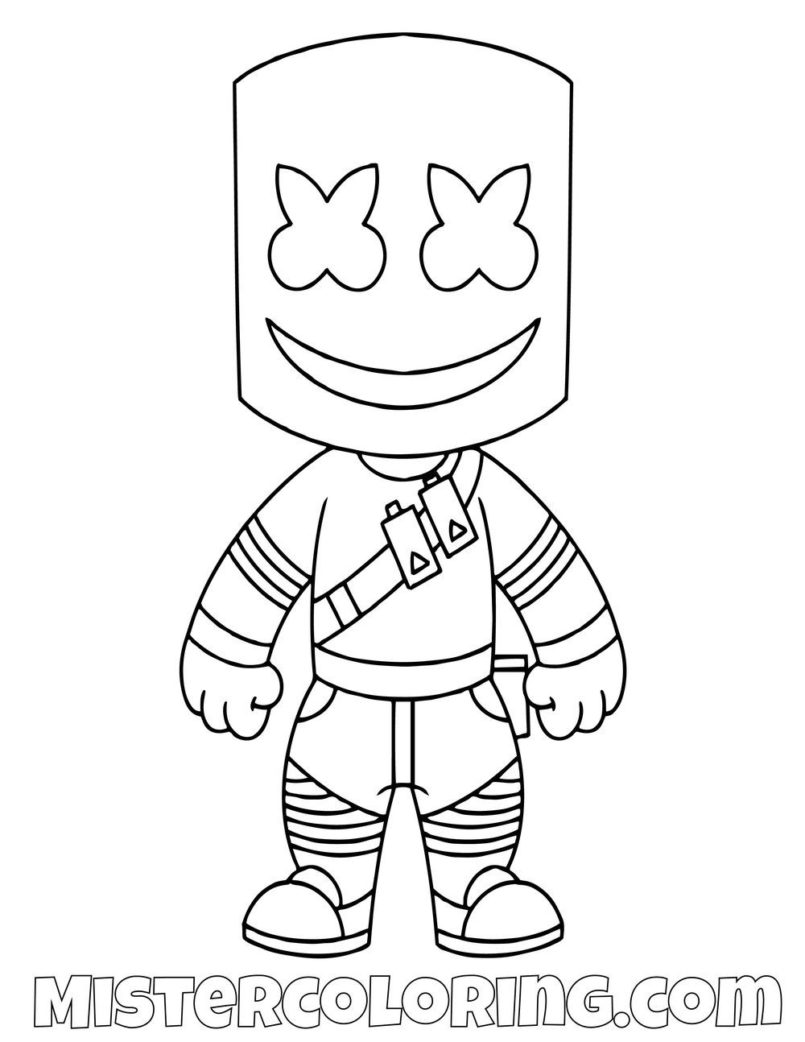 Coloring Pages : Free Marshmello Chibi Skin Fortnite ...