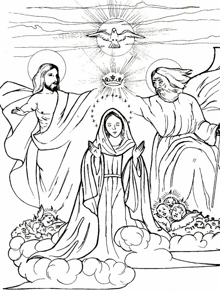 Coronation of Mary | Catholic Kids Coloring Pages